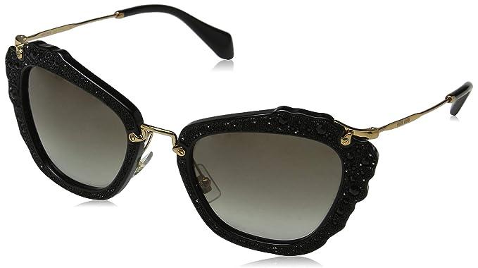 a7eb2bb612 Miu Miu MU04QS 1AB0A7, Gafas de sol para Mujer, Negro (Black/Grey), 55 cm:  Amazon.es: Ropa y accesorios