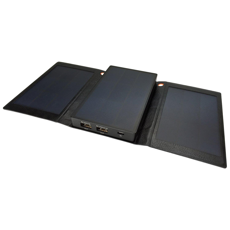 Solpro Helios Smart 5000mAh Tri-Fold Solar Charging Power Bank, Black by SolPro