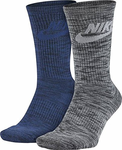 Trade Mid Cuff Sock - Nike Men`s 2-pack Swoosh HBR Crew Socks (Large (Men's Shoe 8-12, Women's Shoe 10-13), Obsidian Heather (SX5403-901) / Light Heather Grey)