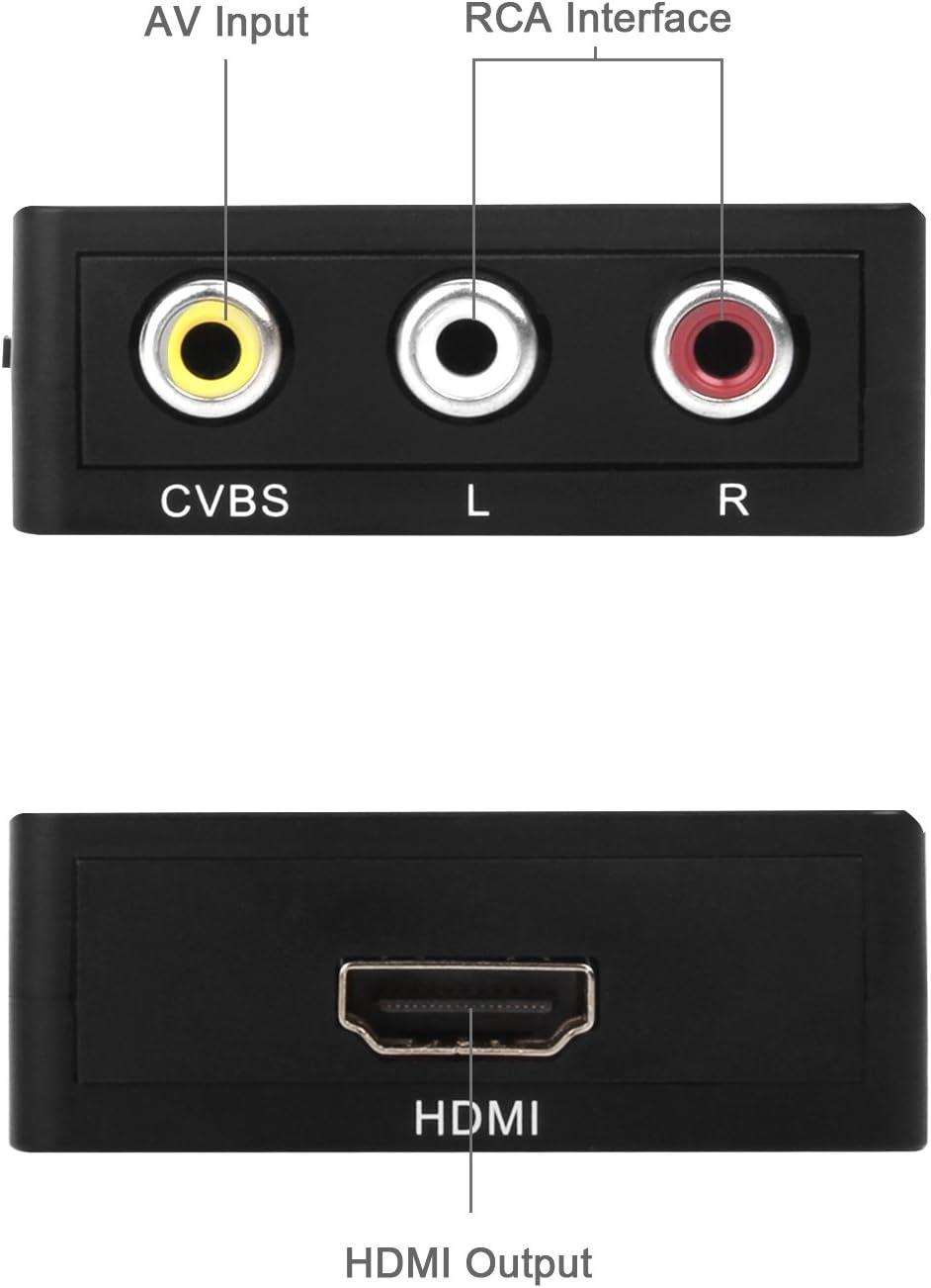 RCA vers HDMI Adaptateur,Ozvavzk 3RCA Composite Mini AV vers HDMI Convertisseur Vid/éo Convertisseur Prise en Charge 1080P avec C/âble de Charge USB,pour PC//DVD//Xbox//PS4//PS3//TV//STB//VHS//Camera//Wii