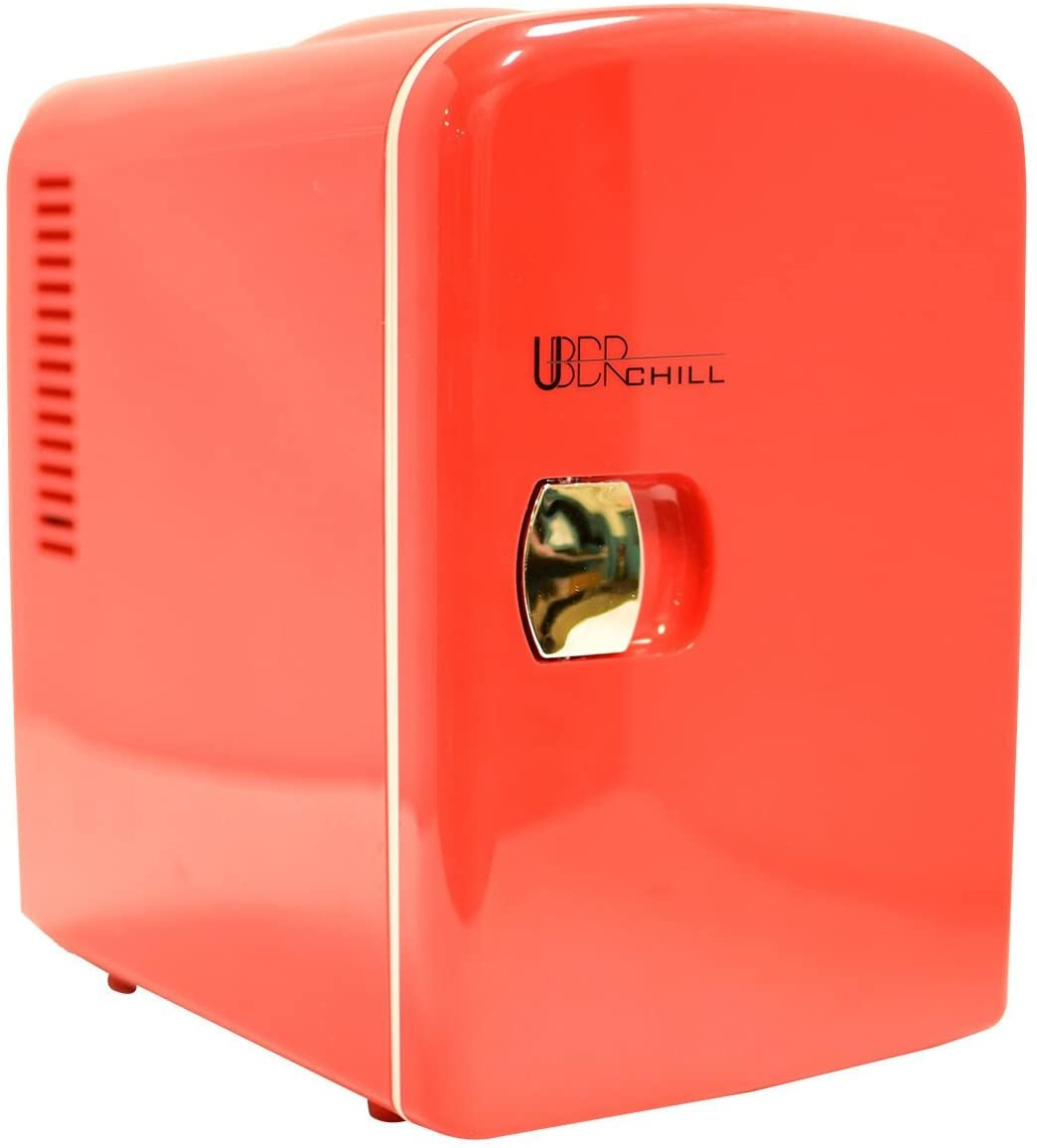Uber Appliance UB-CH1 Uber Chill Mini Fridge 6-can portable thermoelectric cooler and warmer mini fridge for bedroom, office or dorm
