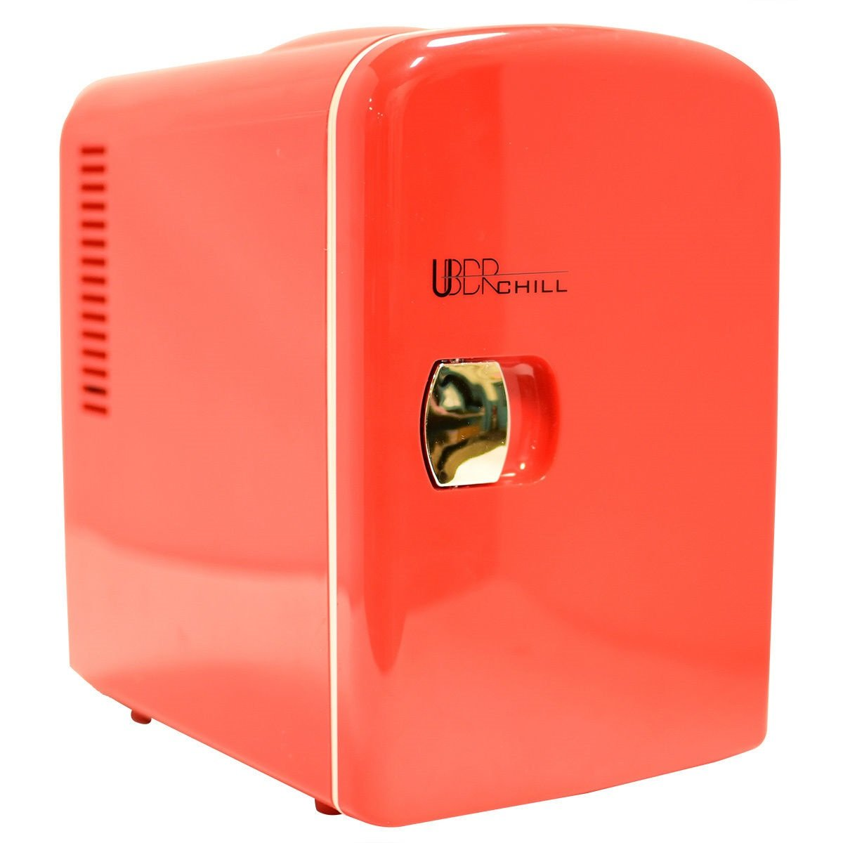 Uber Appliance UB-CH1 Uber Chill Mini Fridge 6-can portable thermoelectric cooler and warmer mini fridge for bedroom, office or dorm (Uber Red) by Uber Appliance