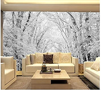 LWCX Landscape Wallpaper Mural 3D Wallpaper Woods Snow Scene Tv Wall