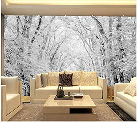 Lwcx Landscape Wallpaper Mural 3d Wallpaper Woods Snow Scene Tv