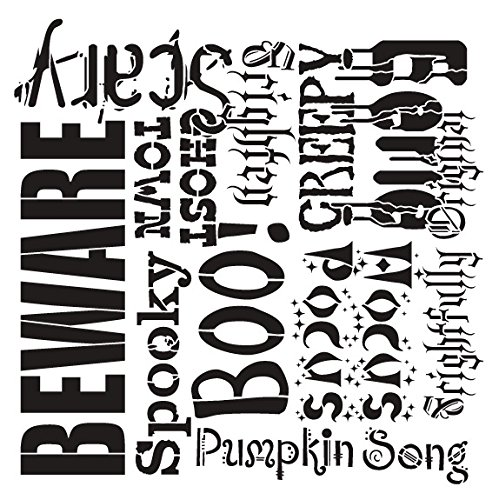 Spooky Halloween by StudioR12 | Spooky and creepy - Reusable Mylar Template | Painting, Chalk, Mixed Media | Wall Art, DIY Home Decor - STCL694 - SELECT SIZE (12