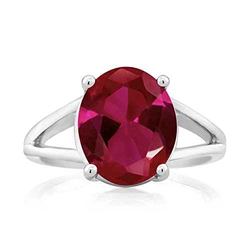 Gem Stone King 925 Sterling Silver Red Created Ruby Women s Ring 5.00 Ct Oval Available 5,6,7,8,9
