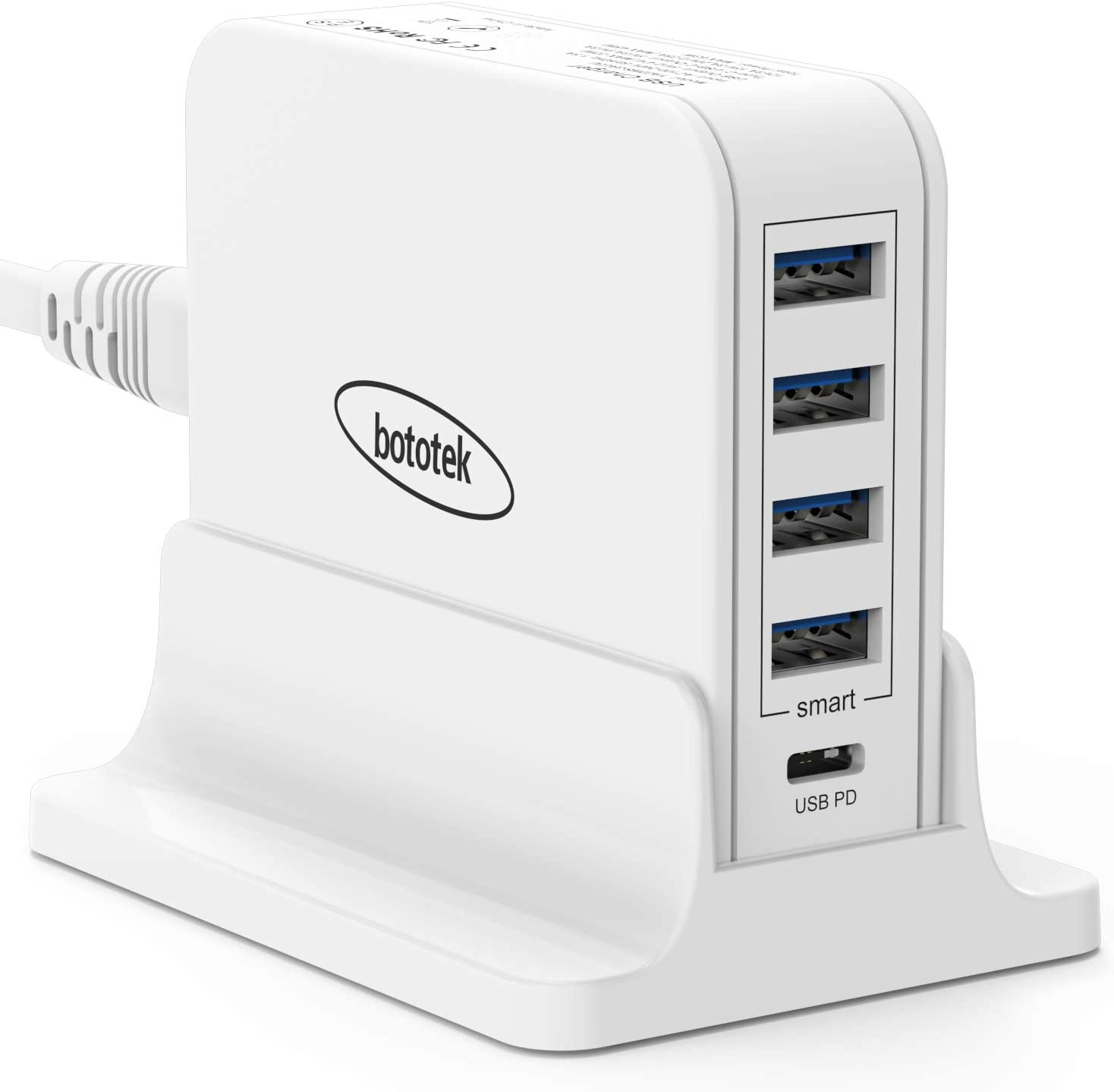USB C Pd Charger, Bototek 63W 5-Port USB Desktop Charging Station with 45W Power Delivery Port, Compatible iPhone 11 Pro Max, Ipad Pro, MacBook Pro Air, Galaxy S20 S10 S9 and More-White