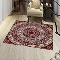Greek Key Anti-Skid Area Rug Round Square Ornament Meander Floral Motifs Spirals Soft Area Rugs 4x6 Ruby Pale Yellow White