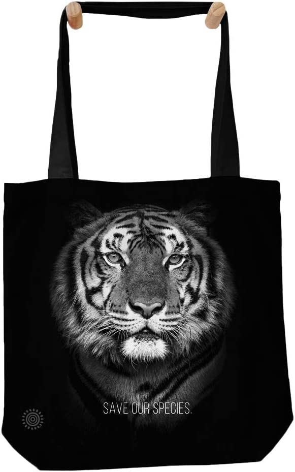 Black One Size The Mountain Tiger Save Our Species 16 x 16-Inches Beach Tote