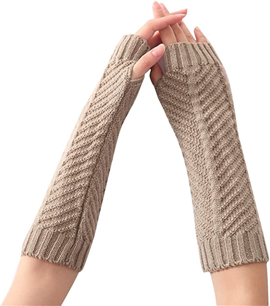 Eforstore Fashion Womens Knitted Wool Fishbone Warm Gloves Half Finger Exposed Finger Sleeves Arm Sleeve