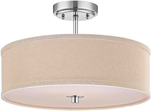 Modern Chrome Ceiling Light with Cream Drum Shade – 16-Inches Wide