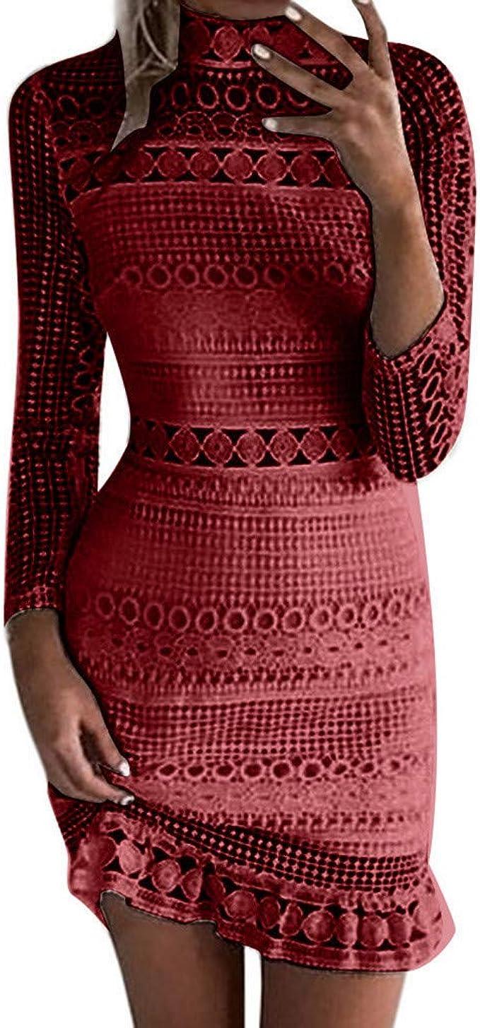 Goosuny Damen Abendkleider Langarm Spitze Kleid Enge Kleid Sexy  Cocktailkleid Minikleid Wickelkleid Schöne Elegante Kleider Kurz  Sommerkleider Bar