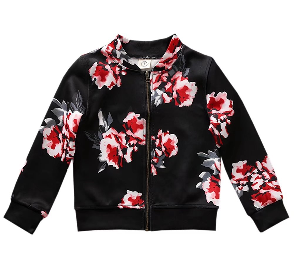 Little Girl's Long Sleeves Vintage Floral Print Casual Bomber Baseball Jacket Coat Outerwear, Black 4-5 Years=Tag 120 by BINPAW (Image #2)