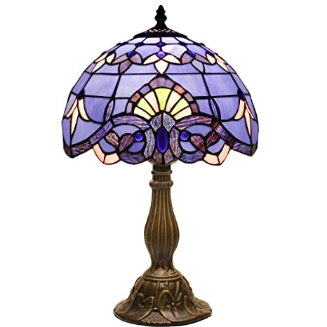 Genial Blue Purple Baroque Tiffany Table Lamp Wide 12 Height 18 Inch For Bedside Desk  Lamp