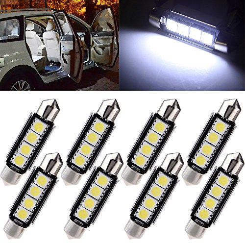 cciyu 42mm Festoon LED Bulbs Error Free 4-5050-SMD White Super Bright Interior Car Lights 211 212-2 214-2 211-2 214-2 6411 560 569 578 fit for Dome Map Door Light Courtesy Light Bulbs Pack of 8 ()