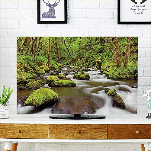"""Price comparison product image TV dust Cover River with Rocks in The Water Rainforest Northwest Lush Bathroom TV dust Cover W30 x H50 INCH/TV 52"""""""