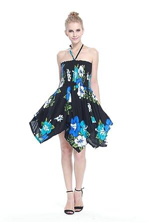 Hawaii Hangover Womens Hawaiian Gypsy Fairy Uneven Bottom Dress Black Blue Floral