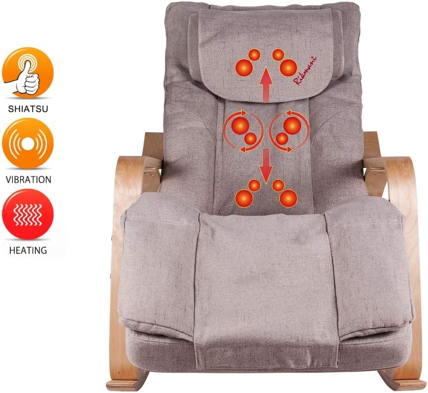 Sillón de masaje para casa y oficina – Sillón de masaje Shiatsu TV con taburete – Masajeador con función de calor –...