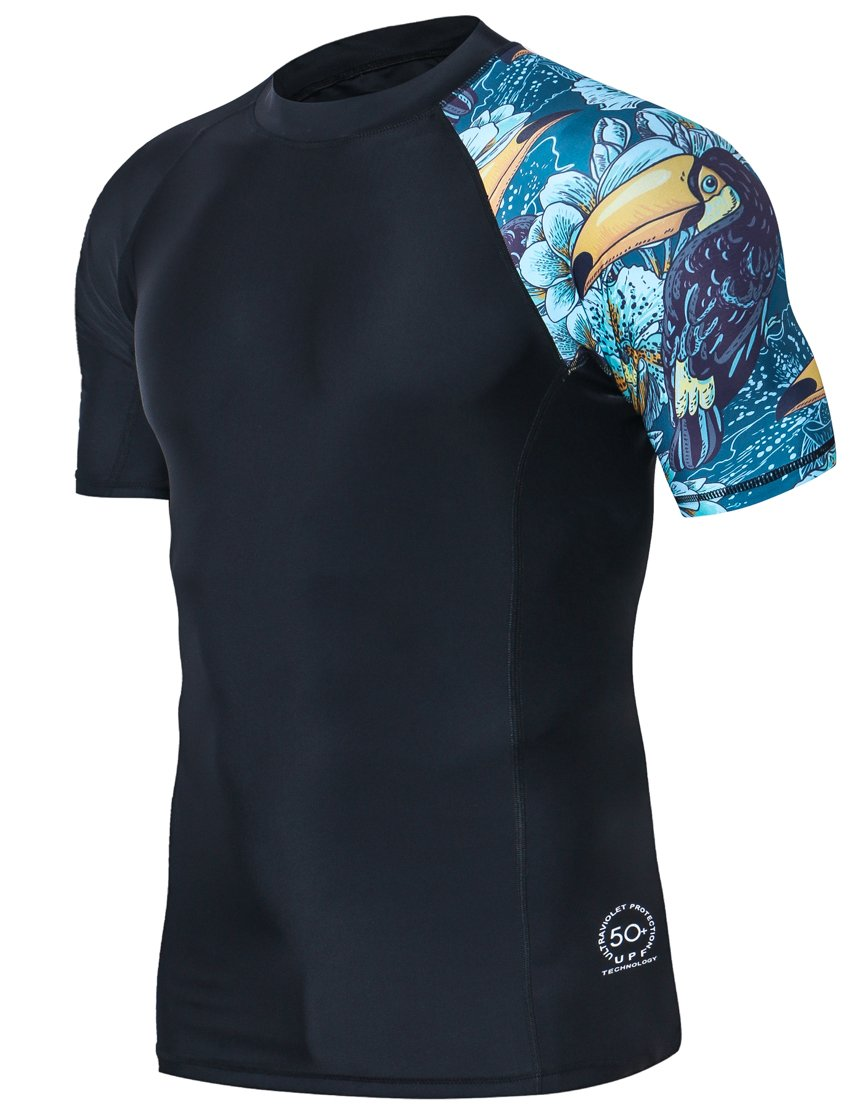 HUGE SPORTS Men's Splice UV Sun Protection UPF 50+ Skins Rash Guard Short Sleeves(HeyToucan, L)