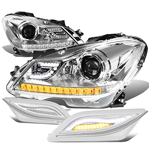For Mercedes Benz C-Class W204 3D Chrome Crystal Halo Projector Headlight Amber Corner + LED Side Signal (Class Crystal Headlights)