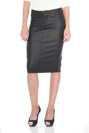 0b6e9d0ca4936 Suko Jeans Women s Pencil Skirt – Waxed Coated Denim - Stretchy Faux Leather