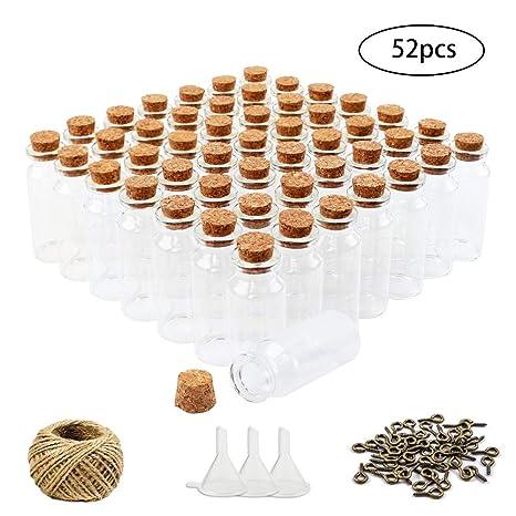 Amazon.com: Loves Pequeño Mini Botellas de vidrio Tarros de ...