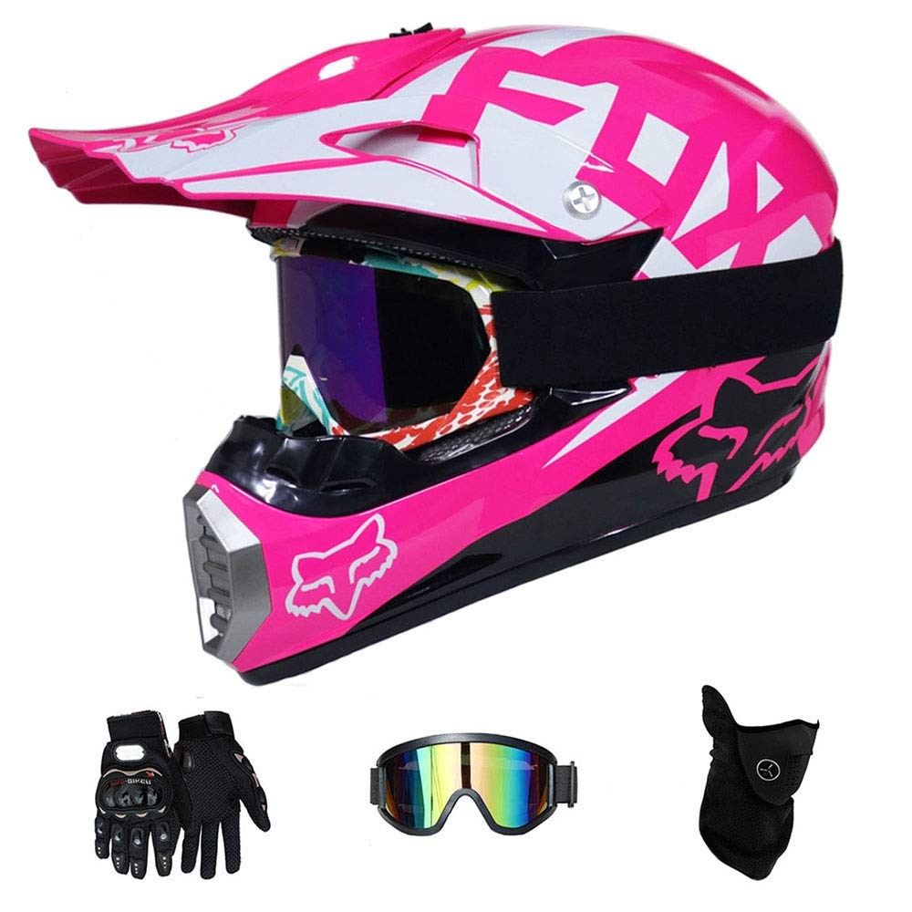 Casco de Motocross Adulto MX Motocicleta Casco Scooter ATV Casco Carretera Race Dot Certificado Rosa con Guantes m/áscara a Prueba de Viento Goggle 4 Piezas Set ,S55~56CM