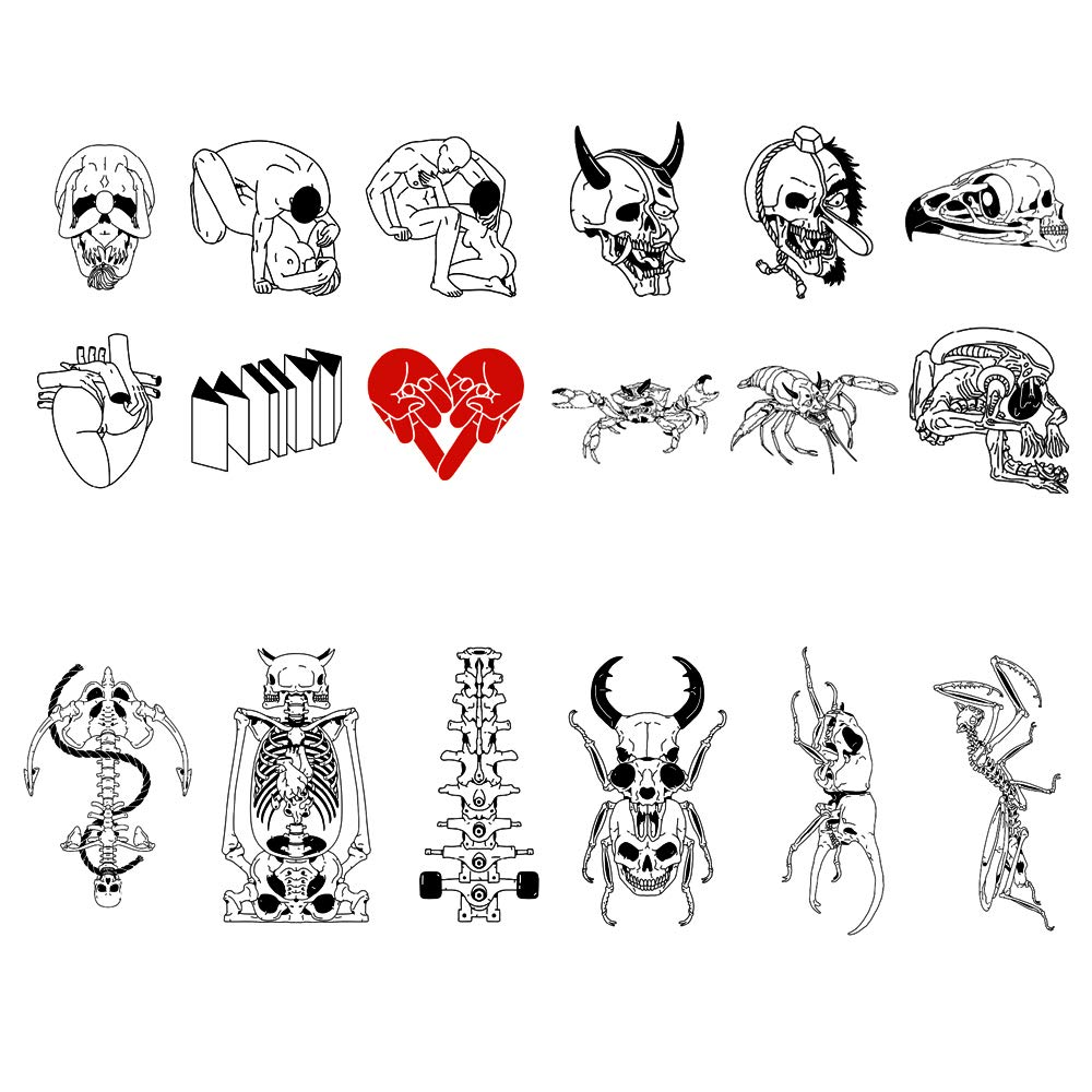 18 Creative Design Temporary Tattoos by Inktells 2020 new,Waterproof Removable fake tattoos for Women Men Adult Kids Boys Girls,Neck Back Arm Hand Stickers about Amimal Bone Mantis Skull(4 sheets)