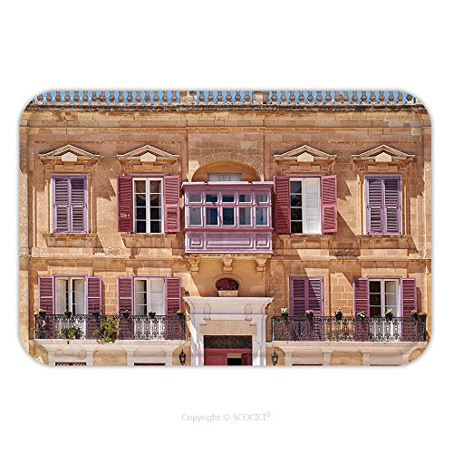 Flannel Microfiber Non-slip Rubber Backing Soft Absorbent Doormat Mat Rug Carpet View Of One Of The Residential Houses In Mdina With Traditional Maltese Style Open Balconies And 520784314 for Indoor/O
