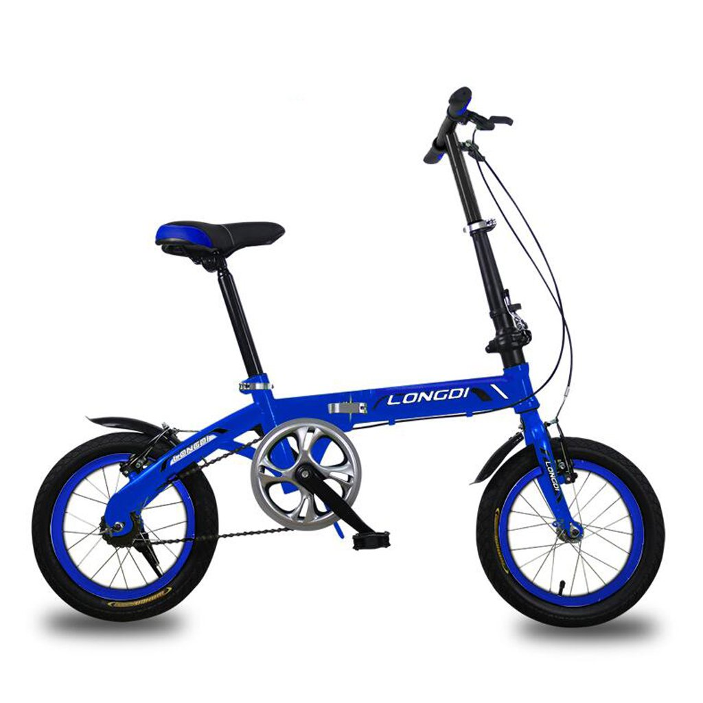 子供用自転車3-5歳子供用自転車14インチ高炭素スチール折りたたみ自転車、グリーン/ブラック/ブルー (Color : Blue) B07CZB34TN