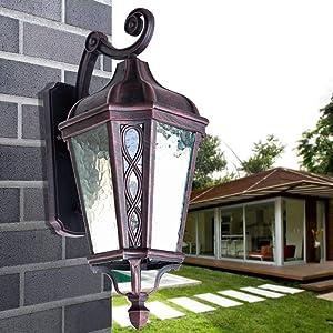 Modeen European Outdoor Waterproof Glass Wall Light Antique Victoria Rustic Lantern Lawn Garden Landscape Outdoor Street Light Aluminum Wall Lamp Sconce E27 Balcony Villa Decoration Lamp