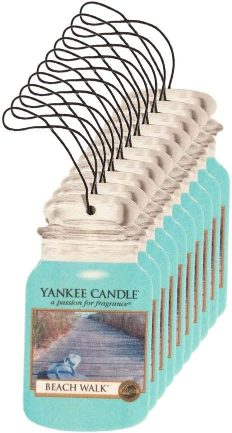 Yankee Candle Car Jar Classic Cardboard Car,Home and Office Hanging Air Freshener, Beach Walk Scent (Pack of 10)