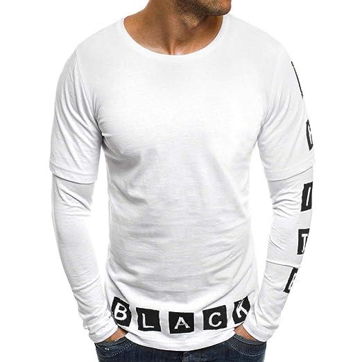ZHRUI - Camiseta de Manga Larga para Hombre, Color Negro, diseño ...