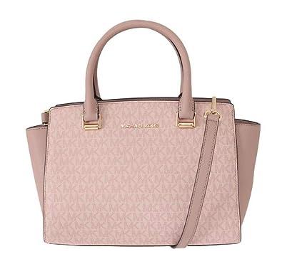 148e3cf2f9bd Amazon.com: Michael Kors Selma Saffiano Leather Medium Top Zip Satchel Bag  - Fawn/Ballet Pink: Shoes