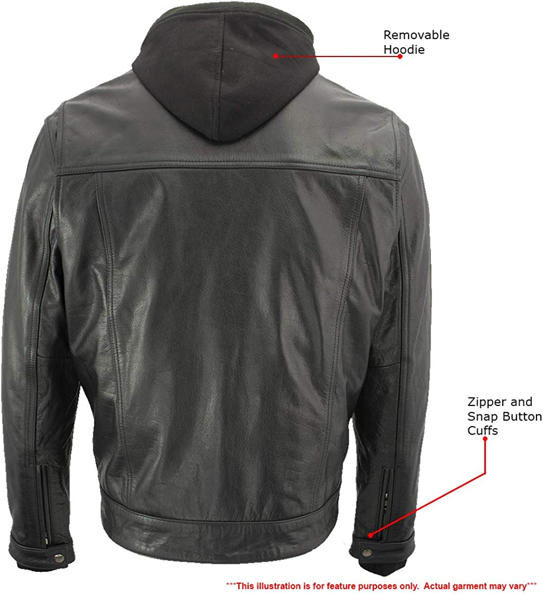 Xelement Cross Rake XS1025 Men/'s Snap Front Leather Shirt Jacket with Fully Removable Hoodie