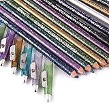 Set of 12 pcs Long Lasting Sparkle Glitter Eyeliner Lip Liner Pencils Set With Sharpener Cap Lady Cosmetic Gift