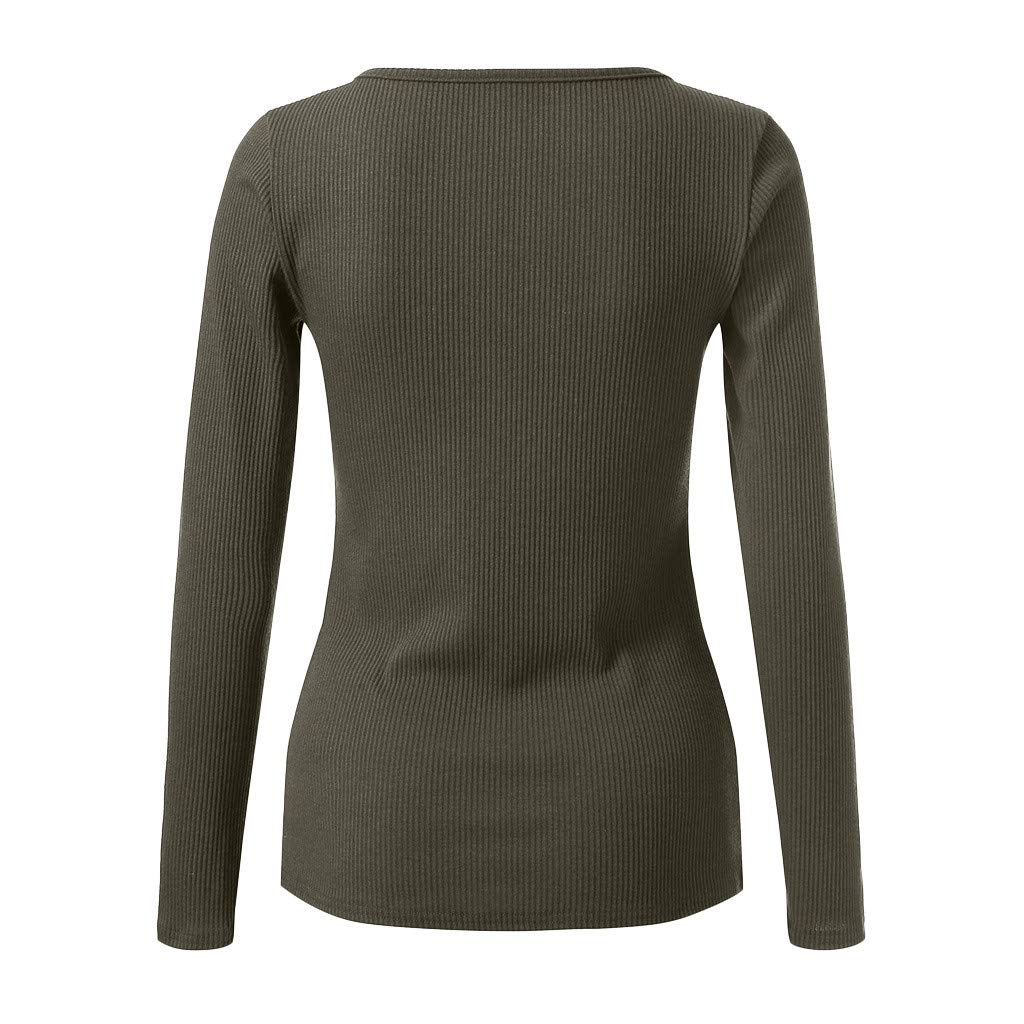 SSYUNO Womens Solid V Neck Henley Shirts Long Sleeve Ribbed Button Down Basic Tops Tees
