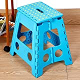 Livebest 15'' Super Strong Folding Step Stool with Portable Carrying Handle Safe Enough for kids Adults at Home, Kitchen and Bathroom,300 lbs capacity (blue, 1)