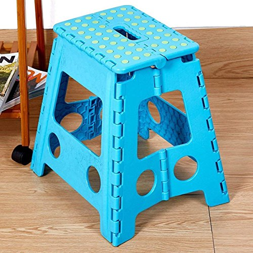 Livebest 15'' Super Strong Folding Step Stool with Portable Carrying Handle Safe Enough for kids Adults at Home, Kitchen and Bathroom,300 lbs capacity (blue, 1) by Livebest