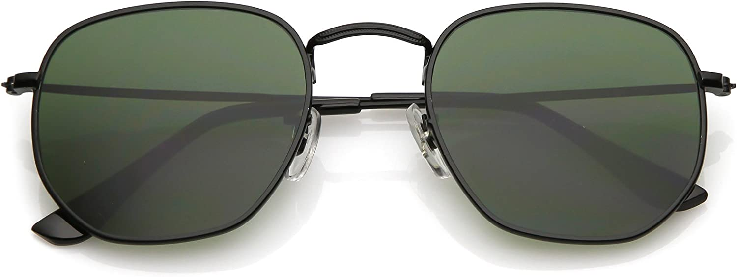 zeroUV - Modern Geometric Metal Slim Arms Neutral Colored Flat Lens Hexagonal Sunglasses 51mm
