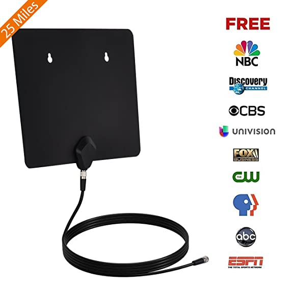 TV Antenna, Thuctek Antenna TV Digital HD Indoor 25 Miles TV Antenna with 10 Feet