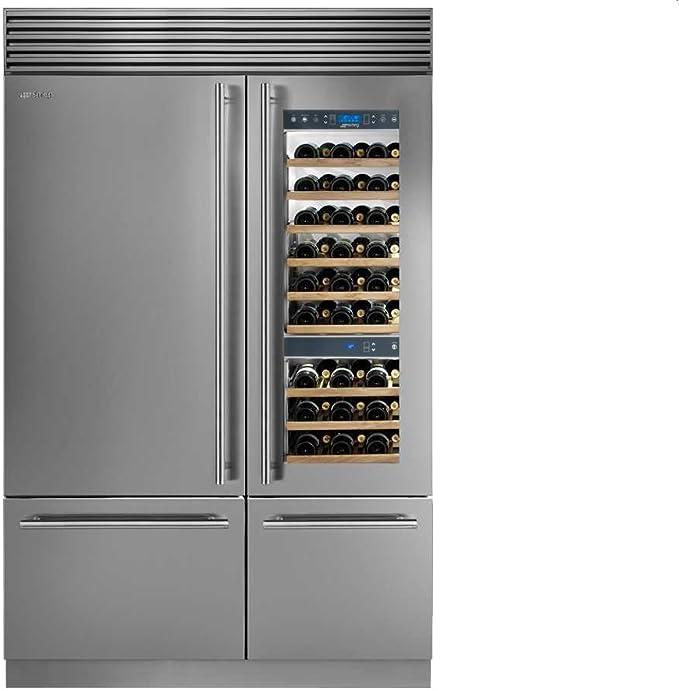 Smeg Side by side vino de/Nevera y congelador Combinación Acero ...