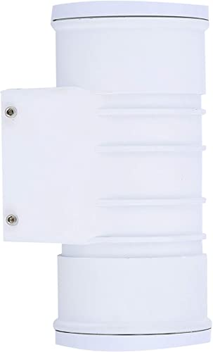 Zip-LED Up Down Cylinder Wall Light in White Vandal Resistant Polycarbonate Plastic, 12W 4000K Natural White 1200 Lumen, Non-Dimmable, Waterproof IP65
