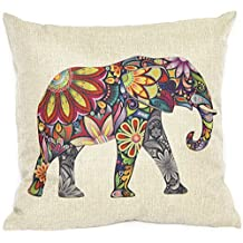 Linen Throw Pillow Cover Case Cushion Sofa Home Decor Gift (Elephant)