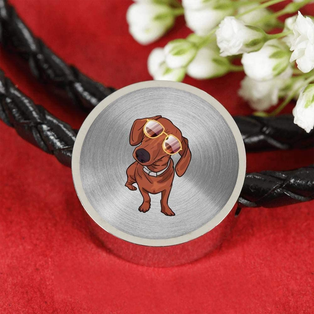 Weezag Dachshund Charm Leather Bracelet for Cute Dog Lovers