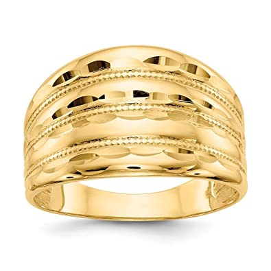 FB Jewels Solid 14k Yellow Gold Dome Style Childrens Bangle with Diamond Cuts