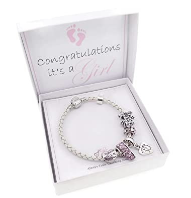 9df48f79e It's A Girl New Mom Leather Charm Bracelet Pandora Style Gift Boxed (19cm)