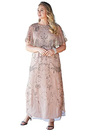 Roamans Pisarro Nights Womens Plus Size Glam Maxi Dress By Pisarro