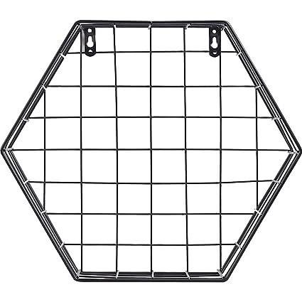 G-wukeer Estante de Pared, Hierro Creativo Rejilla Hexagonal ...