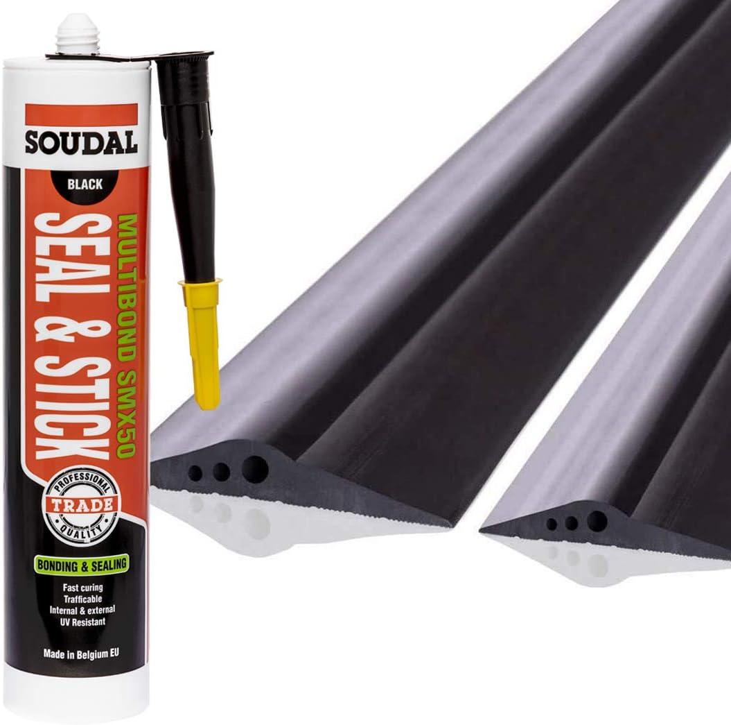 STEIGNER Junta de Garaje con Adhesivo de Montaje Umbral de Garaje de EPDM 1 m 14 mm x 78 mm SGD01